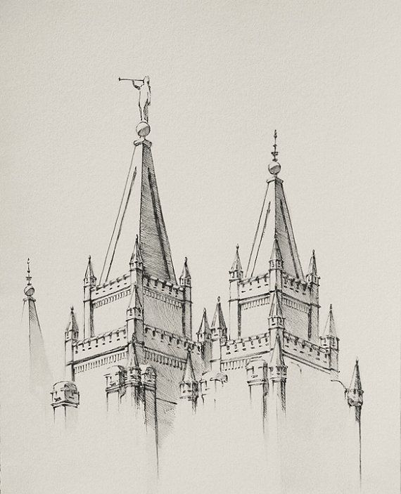 Salt Lake Temple Drawing Ink wash and pen by ChristensenPaintings ...
