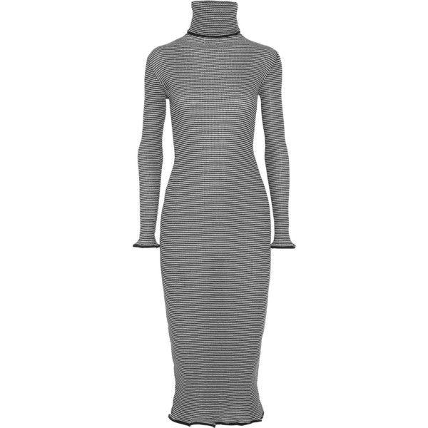 KÉJI Metallic-striped cotton-blend turtleneck dress (€340) ❤ liked on