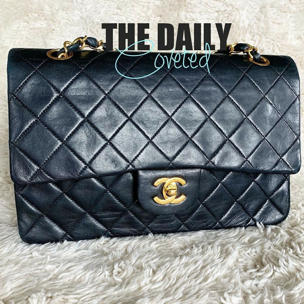 587a2c65ccf9de 1987 Vintage CHANEL Black Quilted Lambskin Small Classic 2.55 Double Flap  Bag