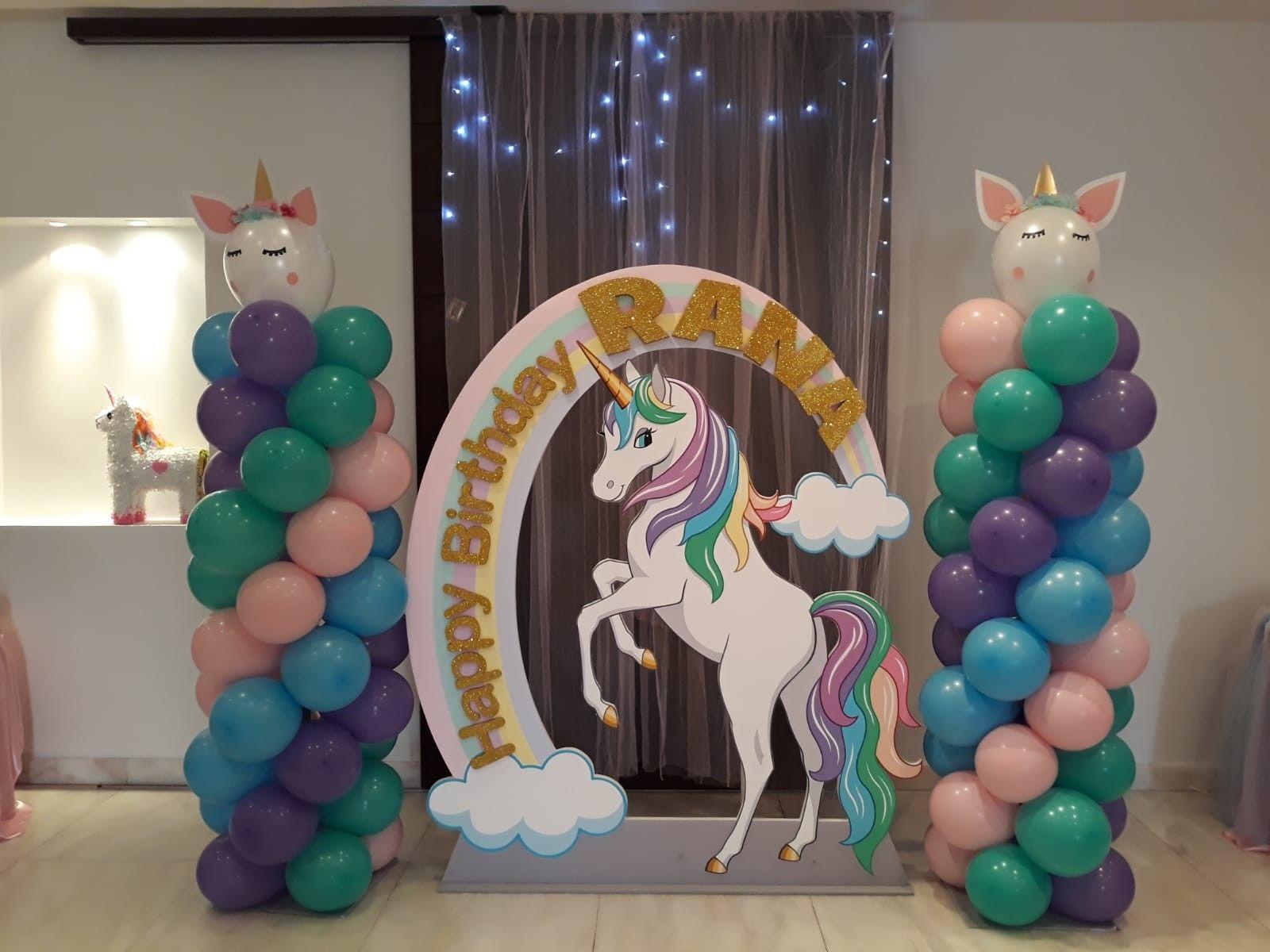 Unicorn theme background. Unicorn theme balloon columns