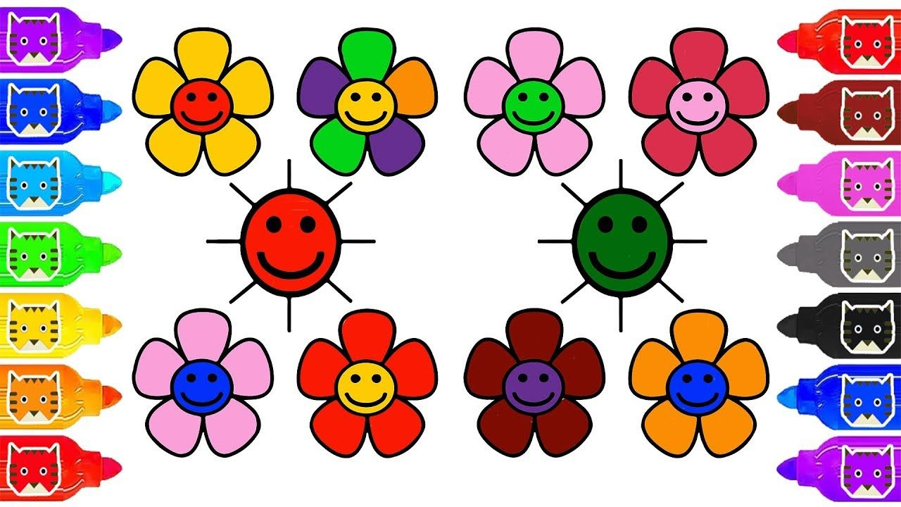 How to draw laughing emoji flowers coloring page Learn color flower ...