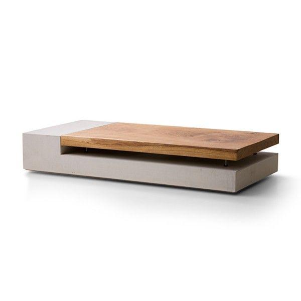 Pastarro Couchtisch 23 Aus Beton Mit Massivholz Perspektive