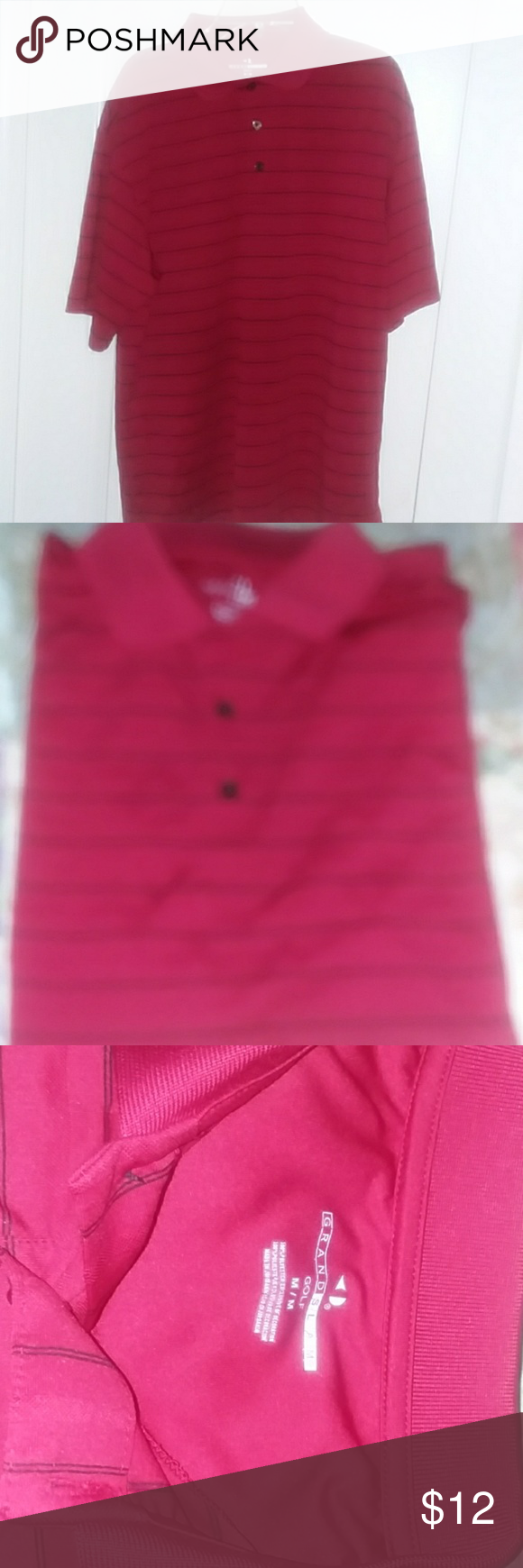 MEN'S golf polo medium Red pin striped black great condition by Grand Slam. grand slam Shirts Polos