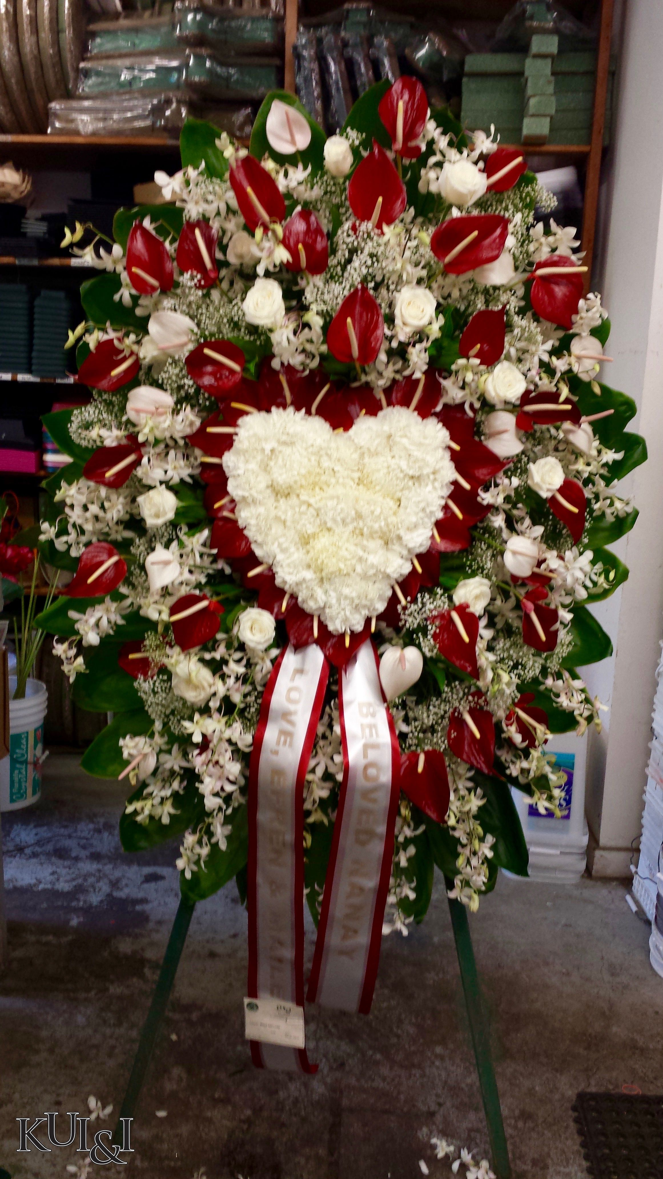 Heart standing spray kuiandiflorist sympathy flower heart standing spray kuiandiflorist casket flowers grave flowers cemetery flowers funeral izmirmasajfo