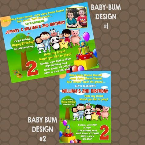 Little Baby Bum Birthday Party Invitations Or Thank You Cards 3rd Parties