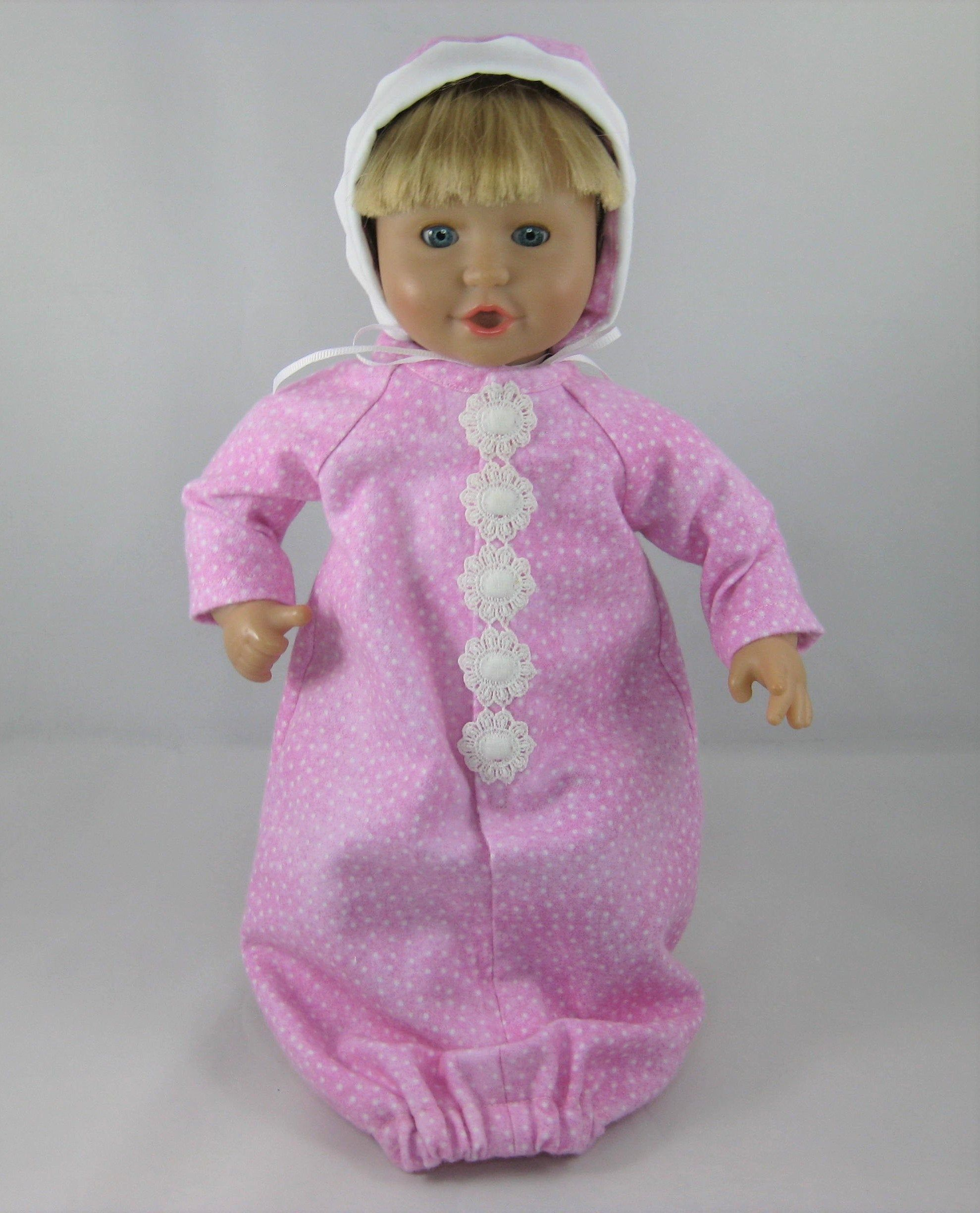 11 13 Baby Doll Pink Sleeper And Bonnet By Theforgetmenotshop On Etsy Baby Doll Clothes Cute Pajamas Doll Clothes