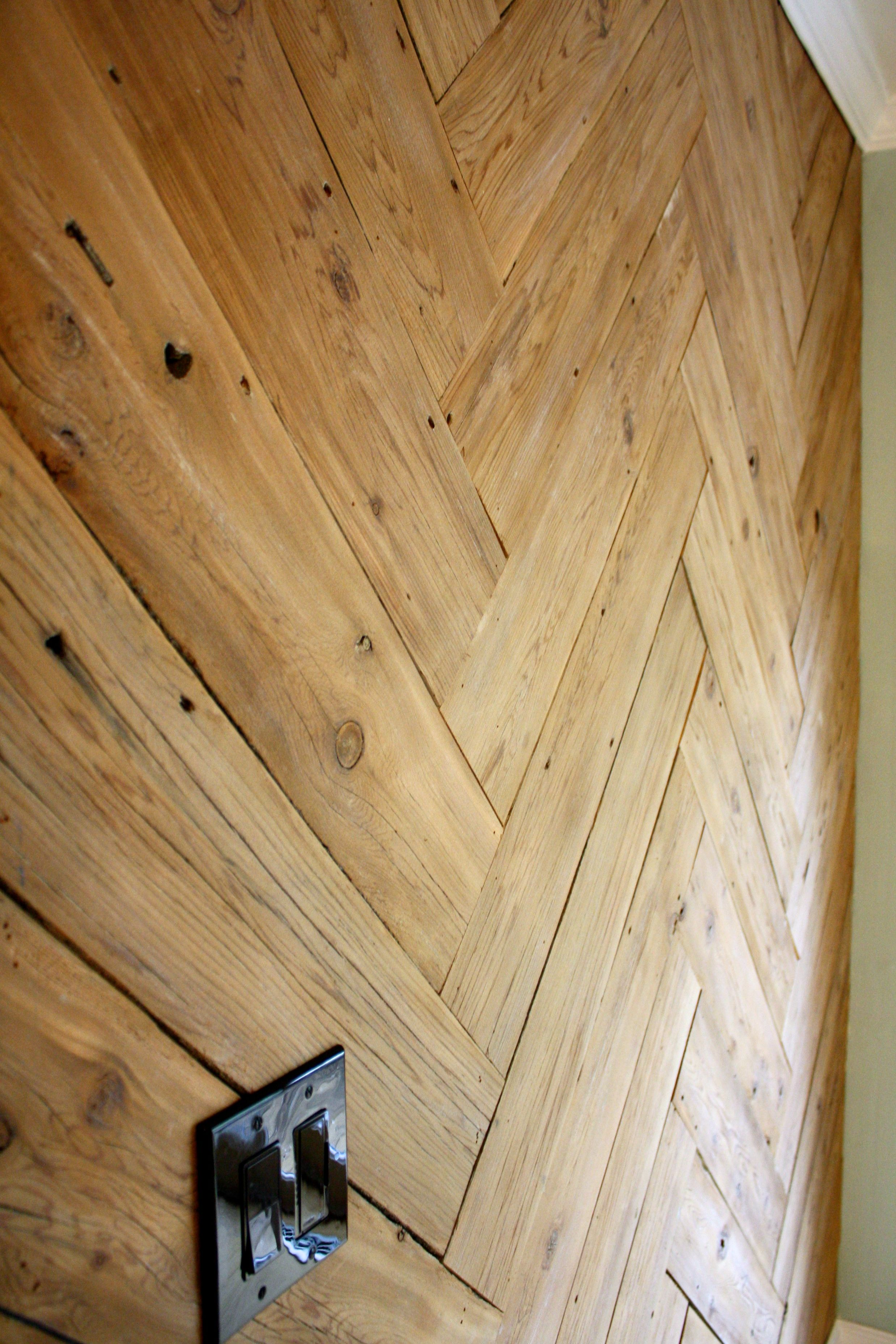 DIY Plank Wall in Herringbone: Made From Old Fence!   Planked walls ...