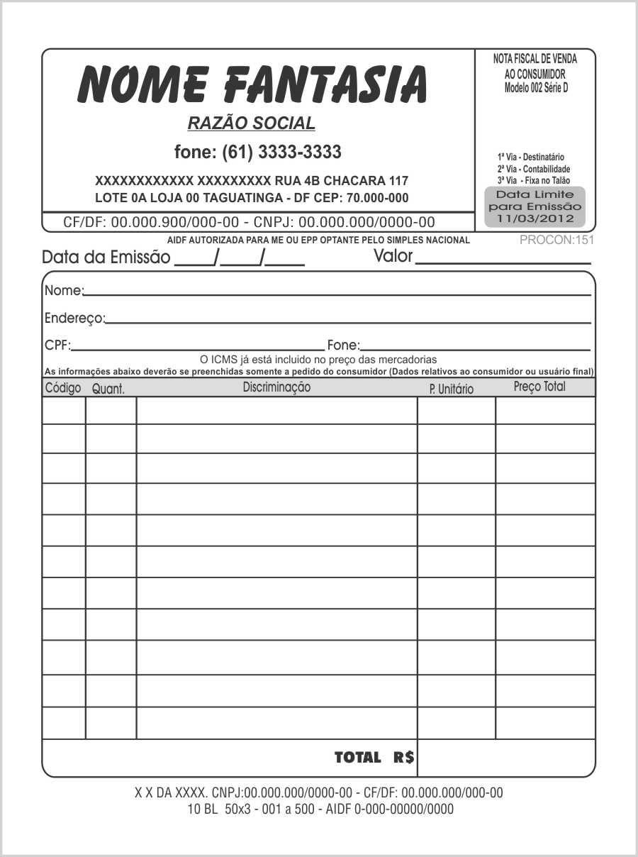 Nota Fiscal Modelo 002 D 10x15cm Valor Para 6 Blocos Grafibrindes