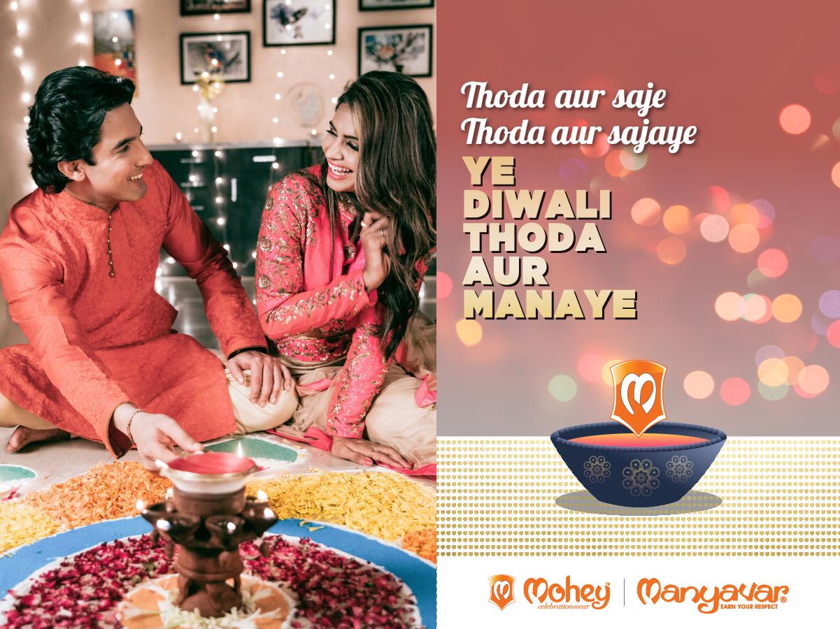 Celebrate more. Cherish a little bit more.  Ye #DiwaliThodaAurManaye. A burst of #CelebrationWear for Diwali at @Manyavar & @MoheybyManyavar