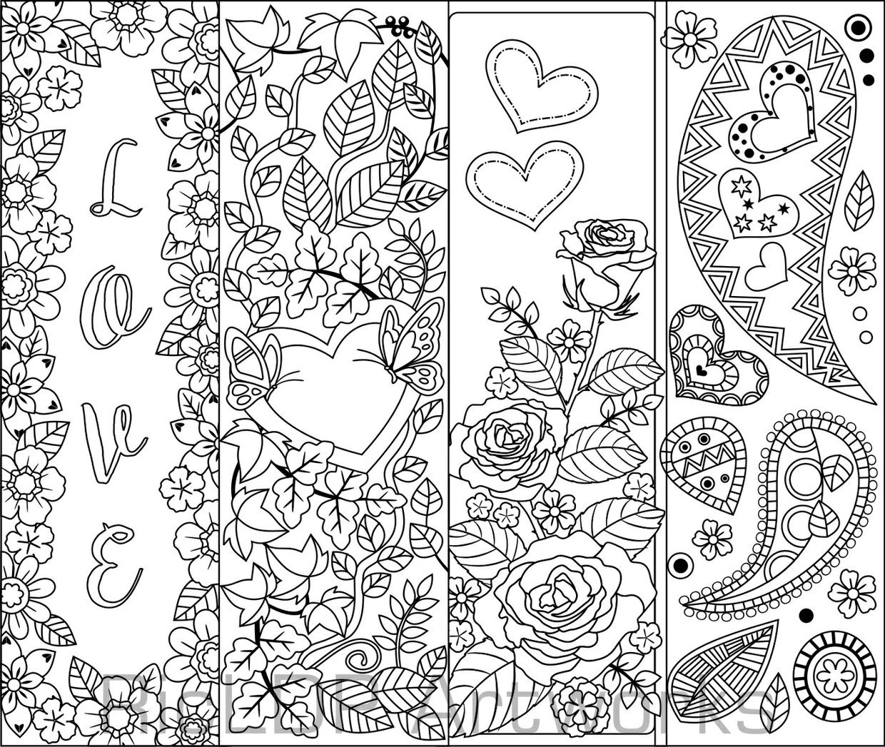 set of 8 coloring bookmarks  hearts; art doodles for