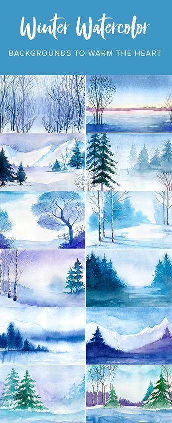 Aquarell-Winterlandschaften Vol.1: 12 Winter-Aquarell-Vektorlandschaften #winterlandscape