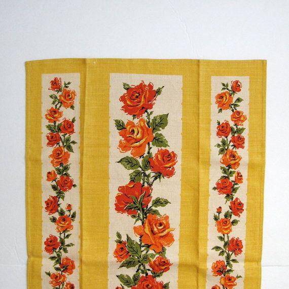 Vintage Yellow Tea Towel   Linen Tea Towel   Baker Davis Rose Print Decor   Vintage  Kitchen Art   Mid Century Kitchen   Retro Kitchen Decor