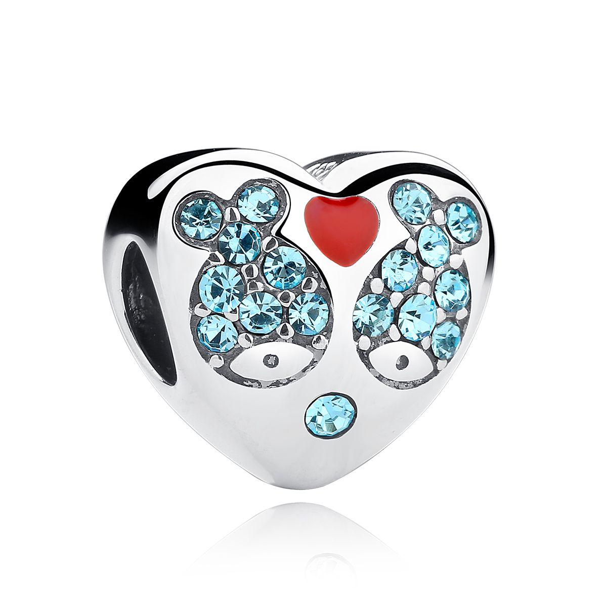 Motherus day gifts sterling silver heart shape red drip bead