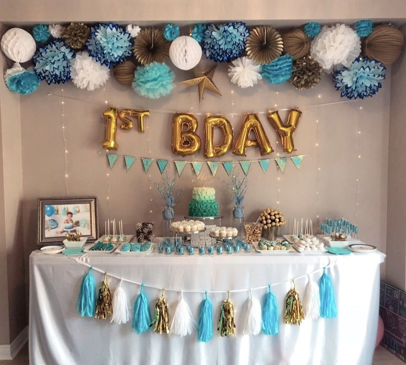 Boy S First Birthday Blue And Gold Desert Table First Birthday