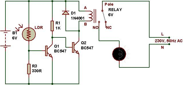 dark sensor using relay and ac electronics in 2019 ldr circuitdark sensor using relay and ac