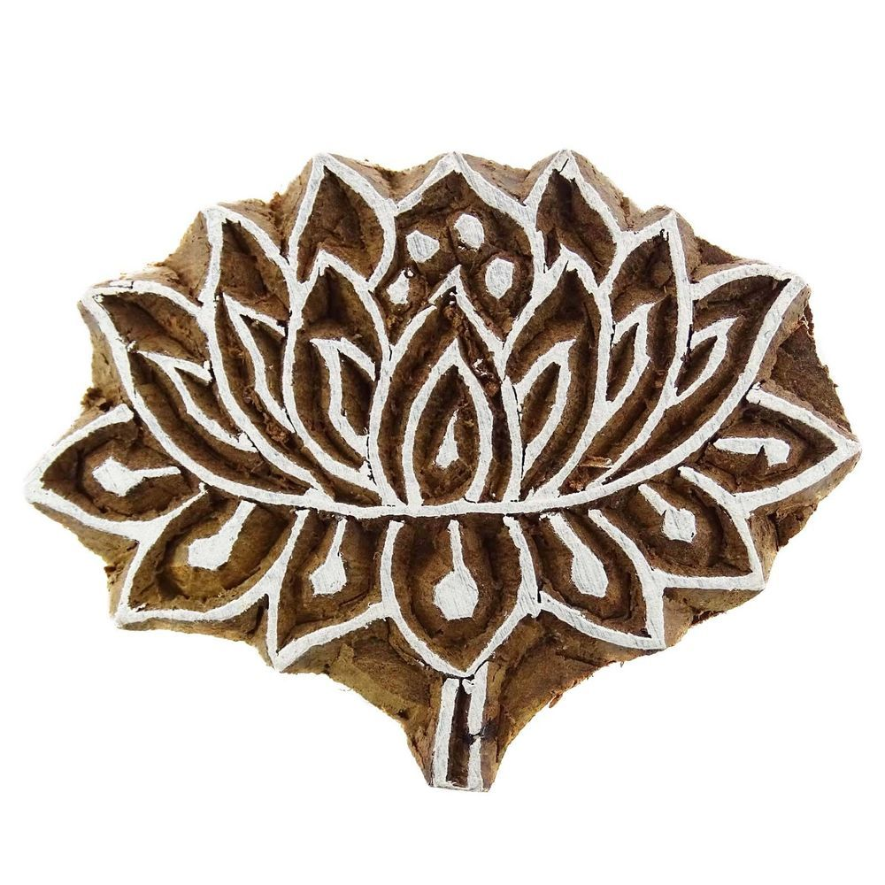 Lotus Pattern Wooden Hand Block Printing Textile Carved Blocks Print Stamps