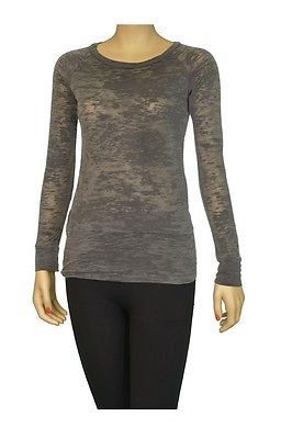 Alternative Burnout Crew Neck Long Sleeves Womens T Shirts Gray Size S