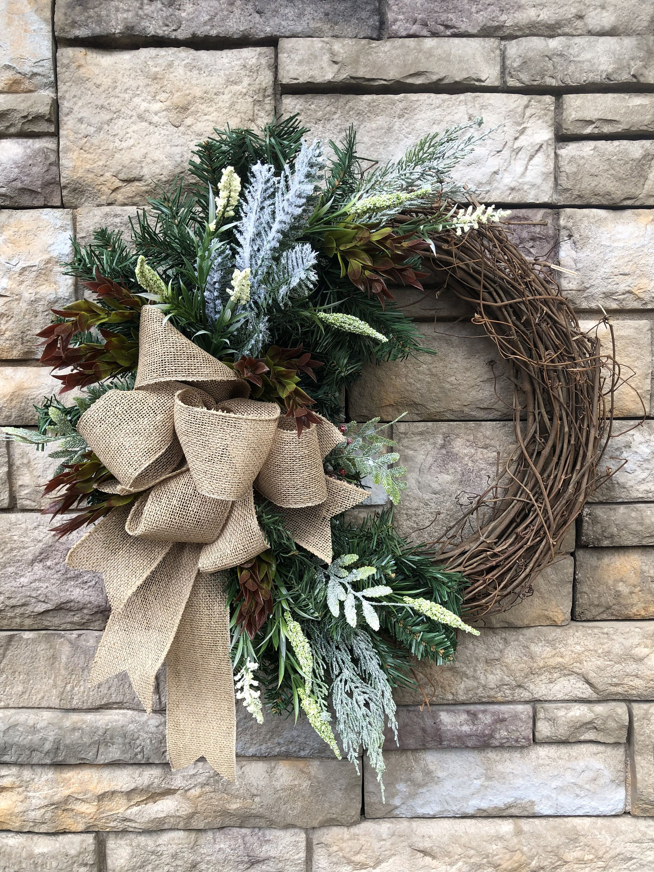 Photo of Winter Farmhouse Faux Grapevine Wreath-Farmhouse Front Door Wreath-Farmhouse Decor-Winter Wreath-Burlap Bow-Frosted Pine Bough-Winter Wreath