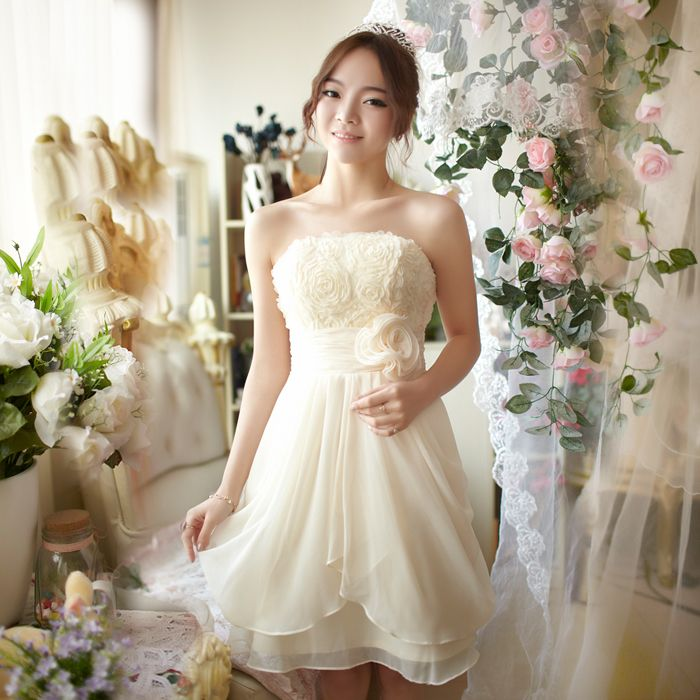 Bridesmaid dress tube top wedding dress short design bridesmaid ...
