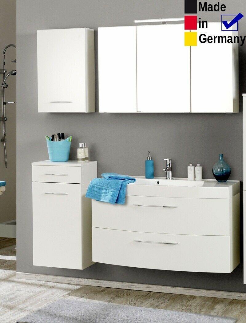 Badezimmer Fiona 39 Hochglanz Weiss 4 Teilig Waschtisch 3d Spiegelschrank Led In 2020 Spiegelschrank Led Spiegelschrank Waschtisch