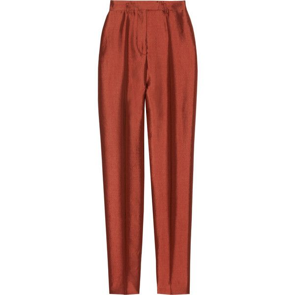 Haider Ackermann High-waisted wool and silk-blend skinny pants (2.785 ARS) ❤ liked on Polyvore featuring pants, bottoms, trousers, pantalones, red, high waisted skinny trousers, red skinny pants, skinny fit pants, zip pants and skinny trousers
