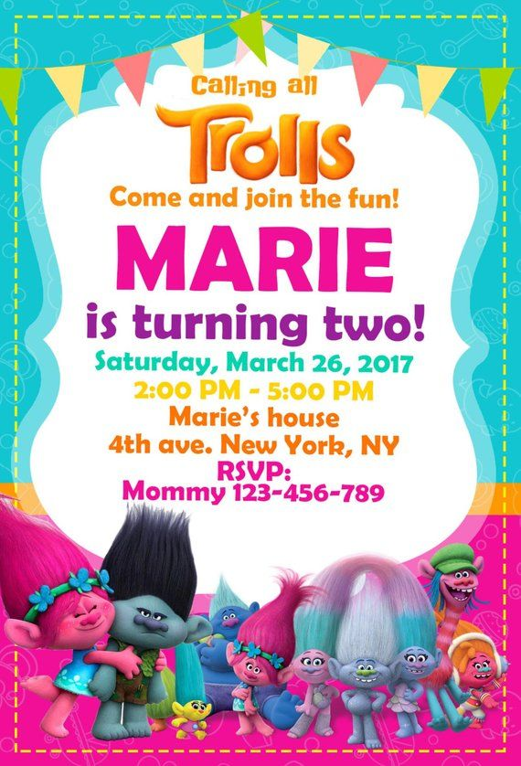 Trolls Birthday Invitation Digital Download Party Invites In 2019