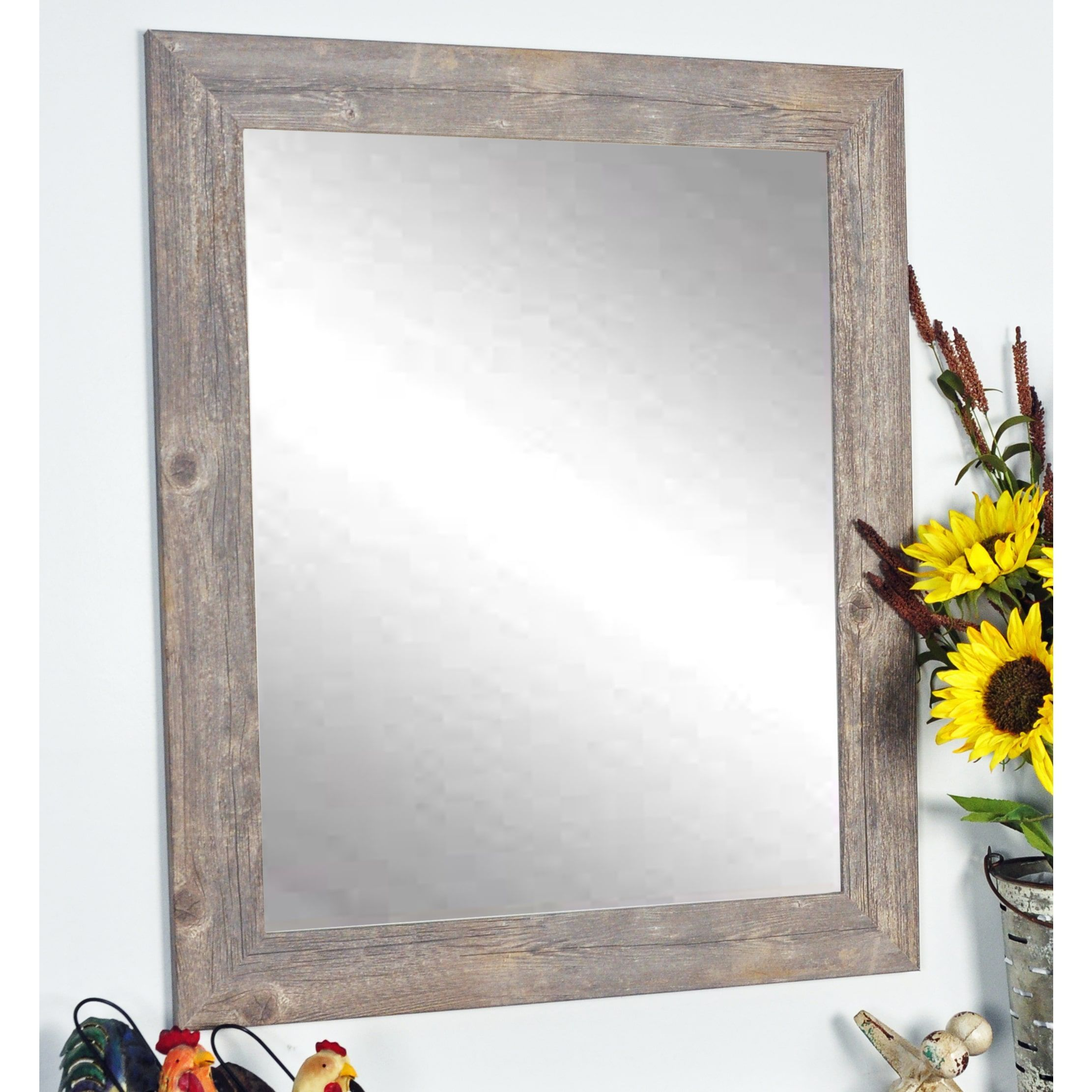 138074f93144d Multi Size Rustic Wild West Brown Barnwood Wall Mirror (21.5 x 32 ...
