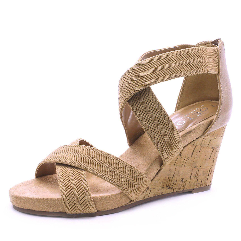 16e7345caa TOETOS Women's Solsoft Low Platform Wedges Back Zipper Sandals. Add a fancy  sparkle to your