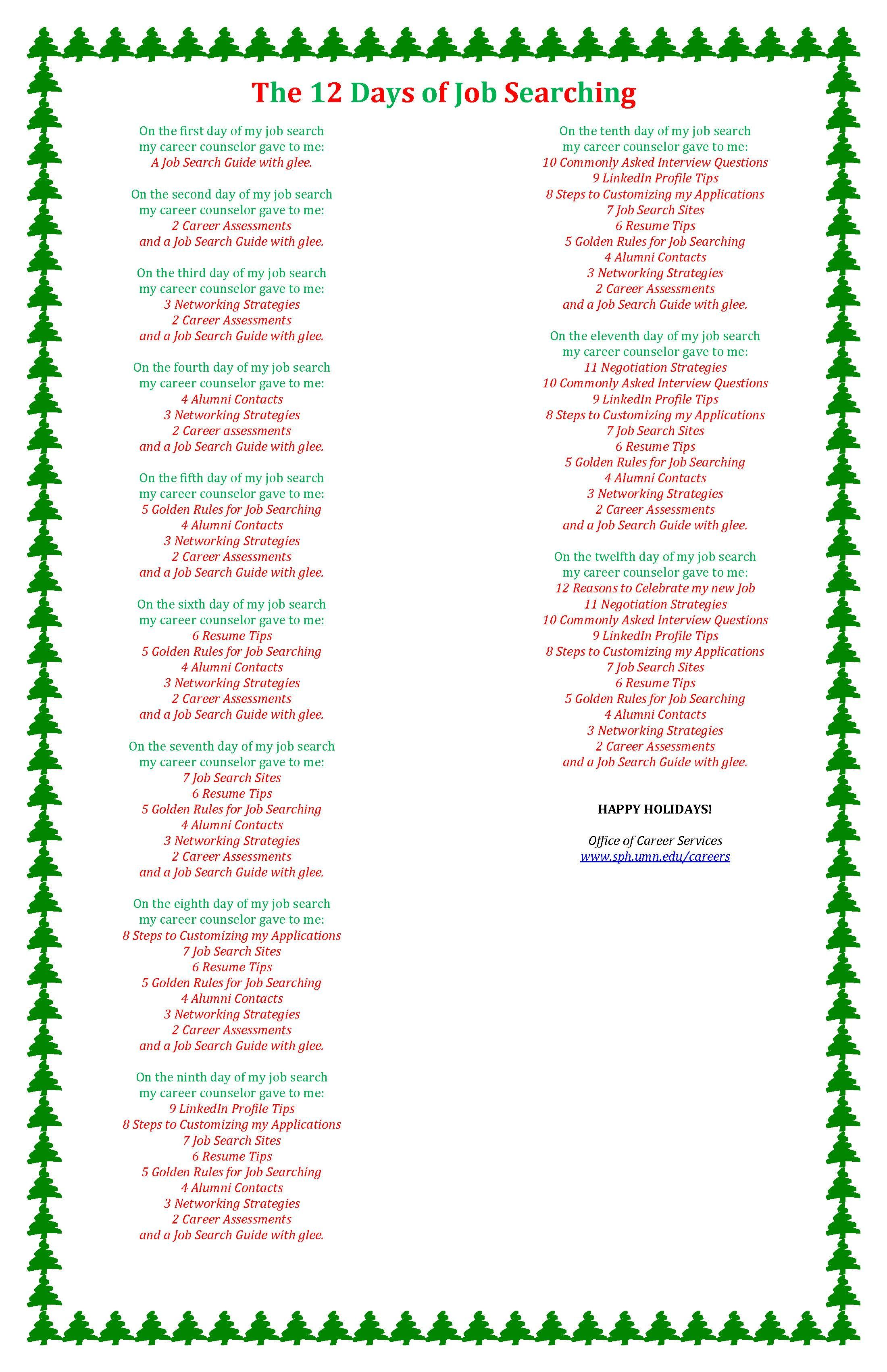 The 12 Days of Job Searching! Happy Holidays! Job search