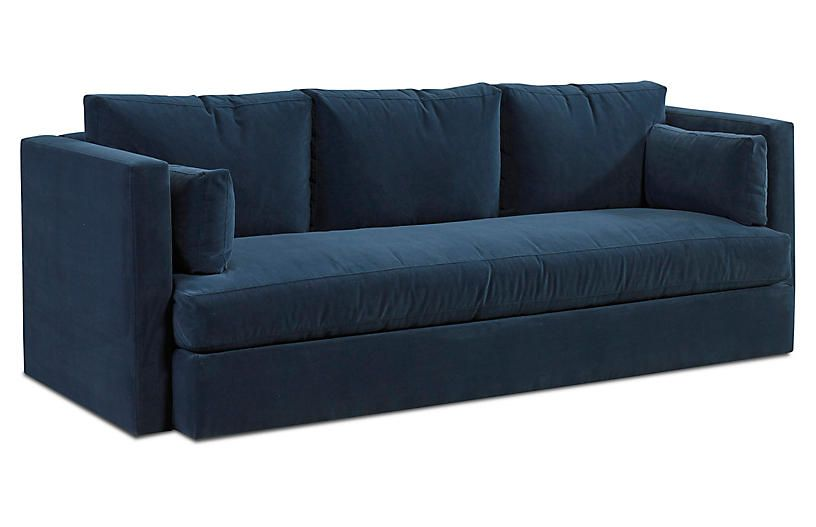 One Kings Lane Rosalyn Sofa Indigo Velvet Products Furniture