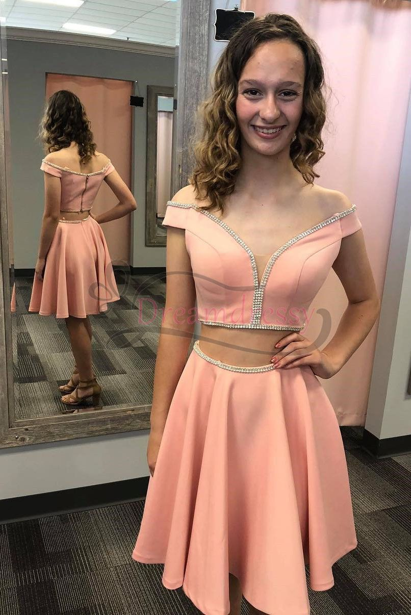 Princess two piece off the shoulder short pink homecoming dress