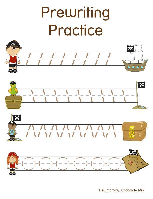 pirate themed pre writing practice kindergarten piraten vorschule und mathe. Black Bedroom Furniture Sets. Home Design Ideas