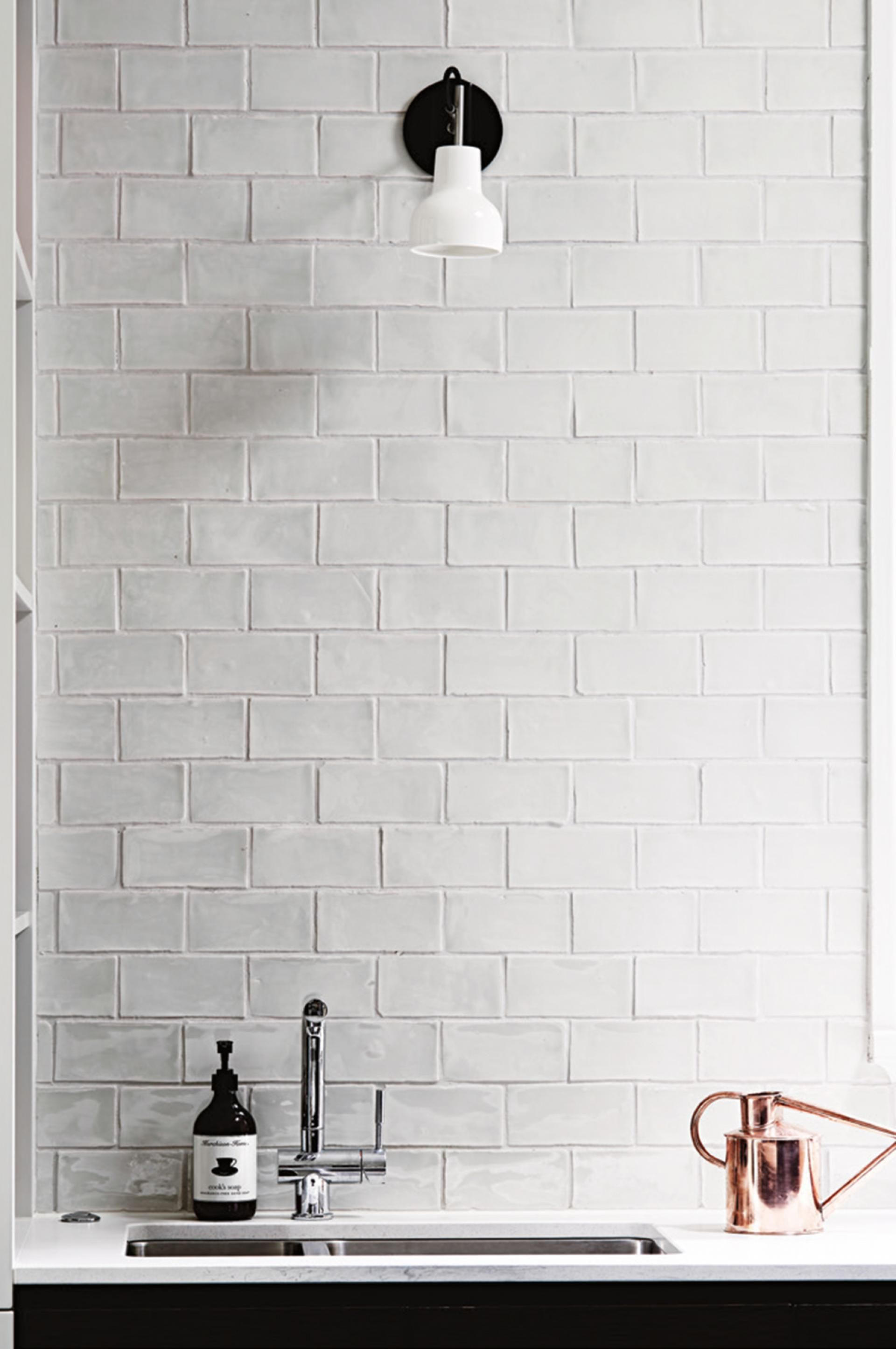 stylist and luxury kitchen wall tiles design. Tile for backsplash Renovation ideas from a classic home fit forever  Photography by Eve Wilson White Brick Wall Texture Interior Background Design Ideas and