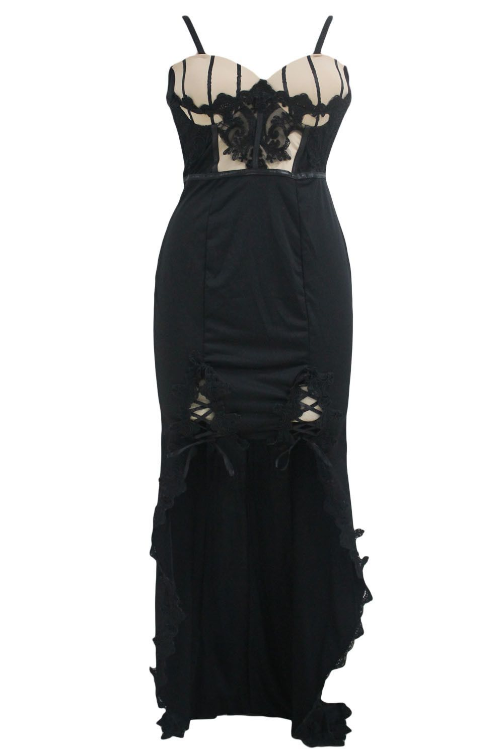 Black lace embroidered long tail party dress products lace and