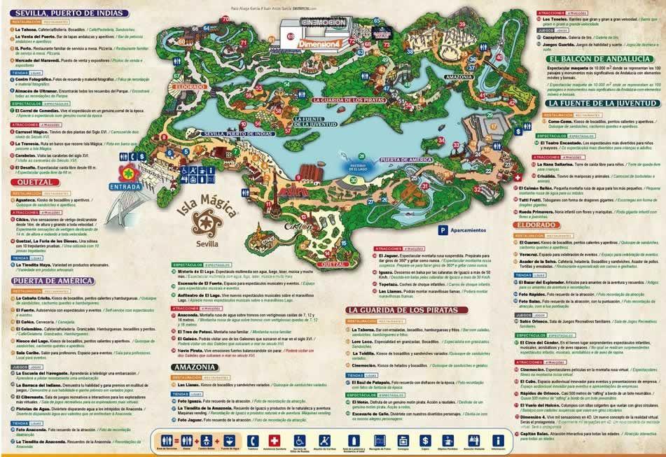 mapa isla magica Plano atracciones Isla Mágica   Sevilla isla magica   Pinterest mapa isla magica