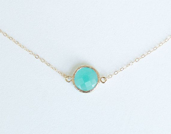 Aqua blue stone necklace gold filled chain faceted aqua blue dot this necklaces features a single faceted tiffany blue round glass stone in a gold plated bezel aloadofball Image collections