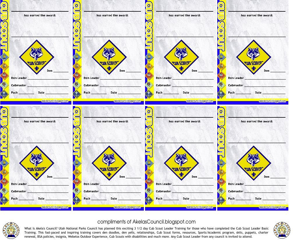 tiger cub scout adventure pocket certificate to be given out at