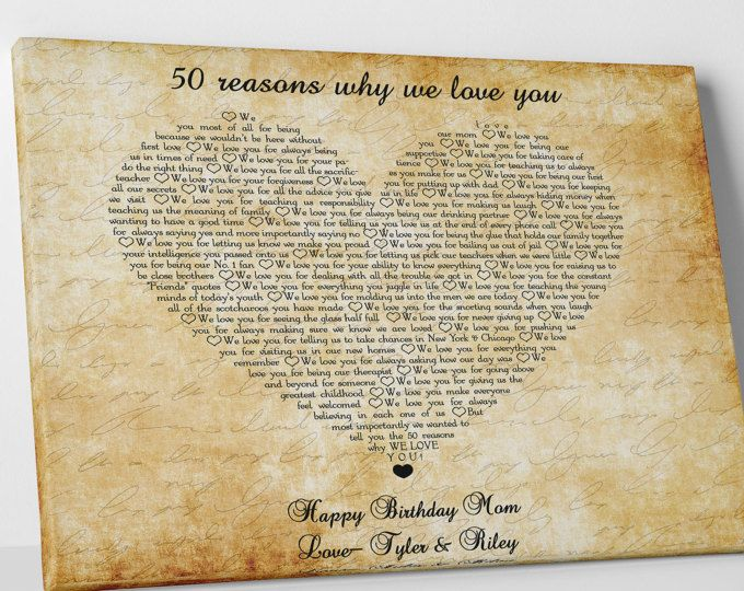 Reasons we love you mom gift Personalized mother 50th birthday gifts ...