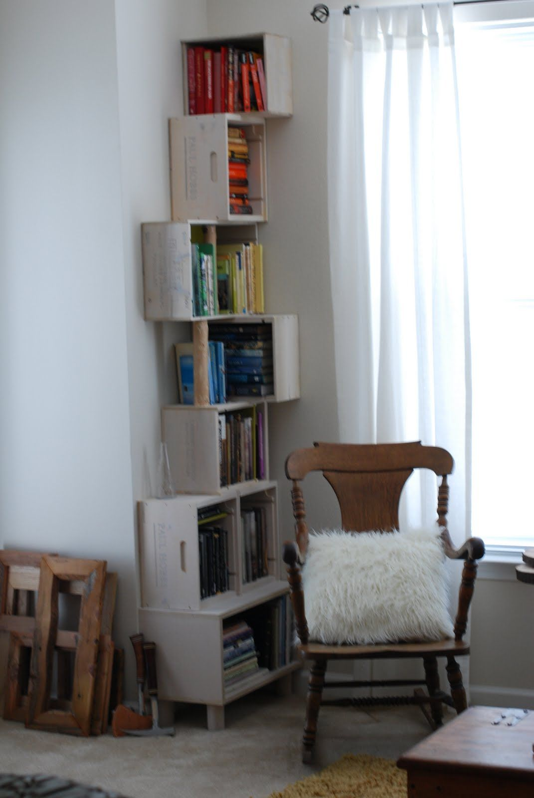 Wine Box Bookshelf For Small Corner Space