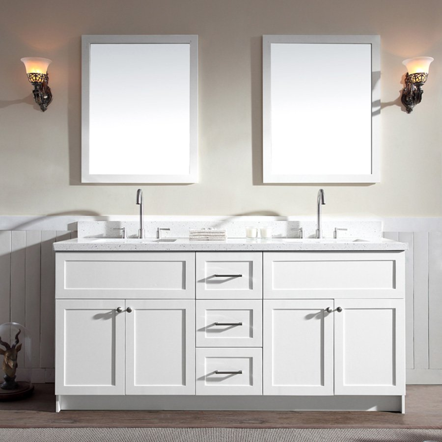 Ariel Bath 73 Hamlet Double Sink Vanity W White Quartz Top White F073d Wq Wht Double Sink Vanity Vanity Sink Double Vanity Bathroom