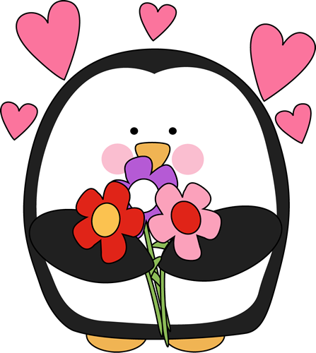 valentine s day penguin with flowers valentine s day pinterest