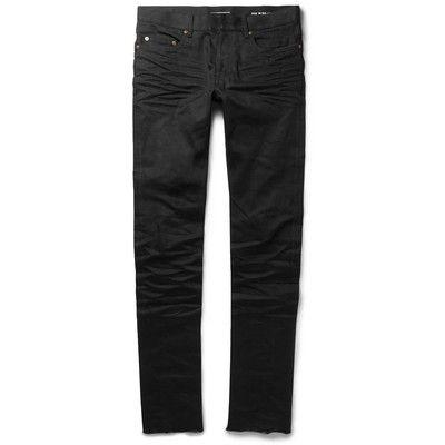 Slim Fit Raw-Hem Denim Jeans