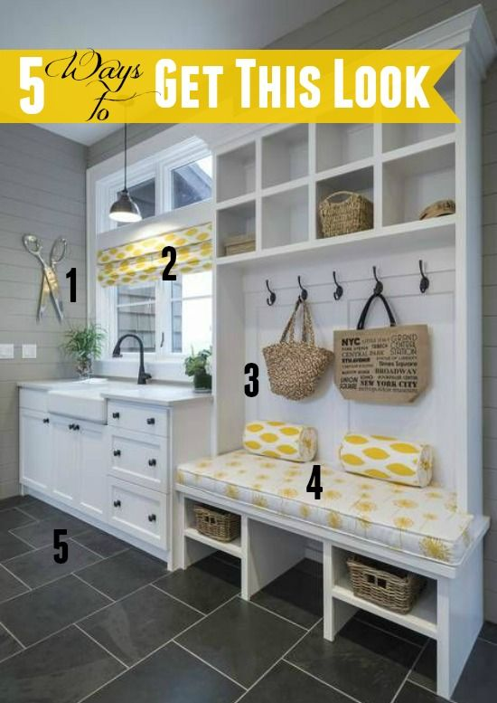 5 Ways To Get This Look Yellow Gray Mudroom Infarrantly Creative Laundry Room Decor Mudroom Laundry Room Laundry Room Remodel