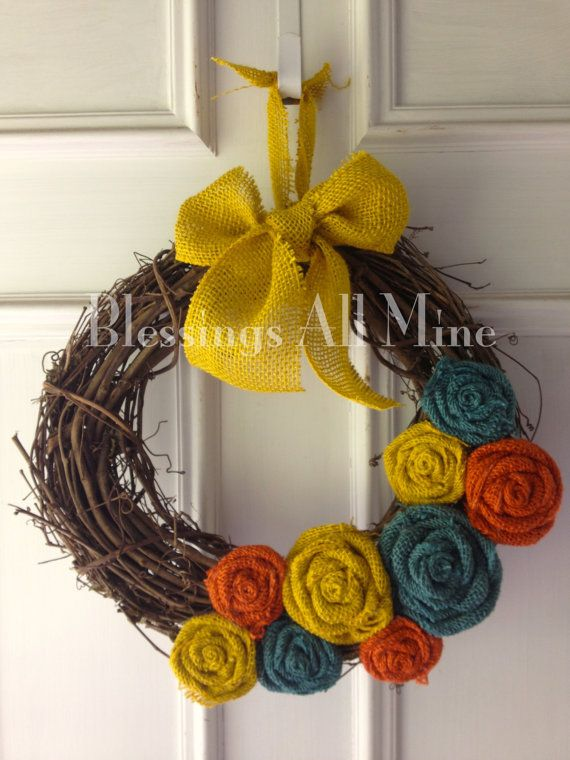 14 inch Grapevine Wreath, Burlap Yellow, Orange, & Turquoise Teal Flowers, Spring Summer Fall/Autumn Wreath