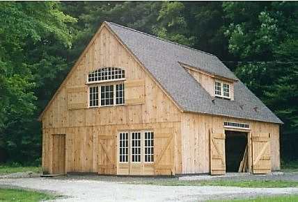 Exterior of post and beam gentleman 39 s horse barn for the for Post and beam barn plans