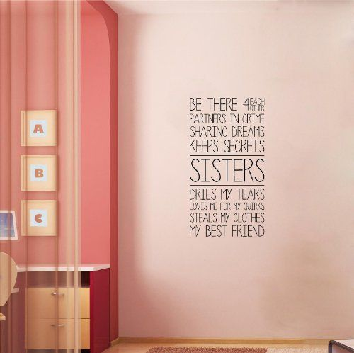 Sisters (M) Wall Saying Vinyl Lettering Home Decor Decal Stickers Quotes by Wall Sayings Vinyl Lettering, http://www.amazon.com/dp/B00BL4W3D6/ref=cm_sw_r_pi_dp_Wqlusb05JEQQP