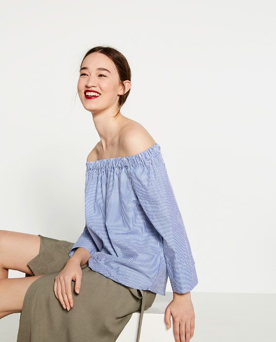 62f8d150 Image 2 of STRIPED OFF-THE-SHOULDER POPLIN TOP from Zara | womens in ...