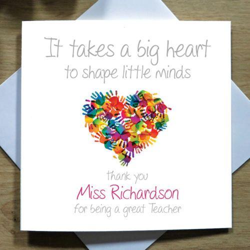 Personalised Handmade Teacher Heart Thank You Card  Mr Mrs Miss
