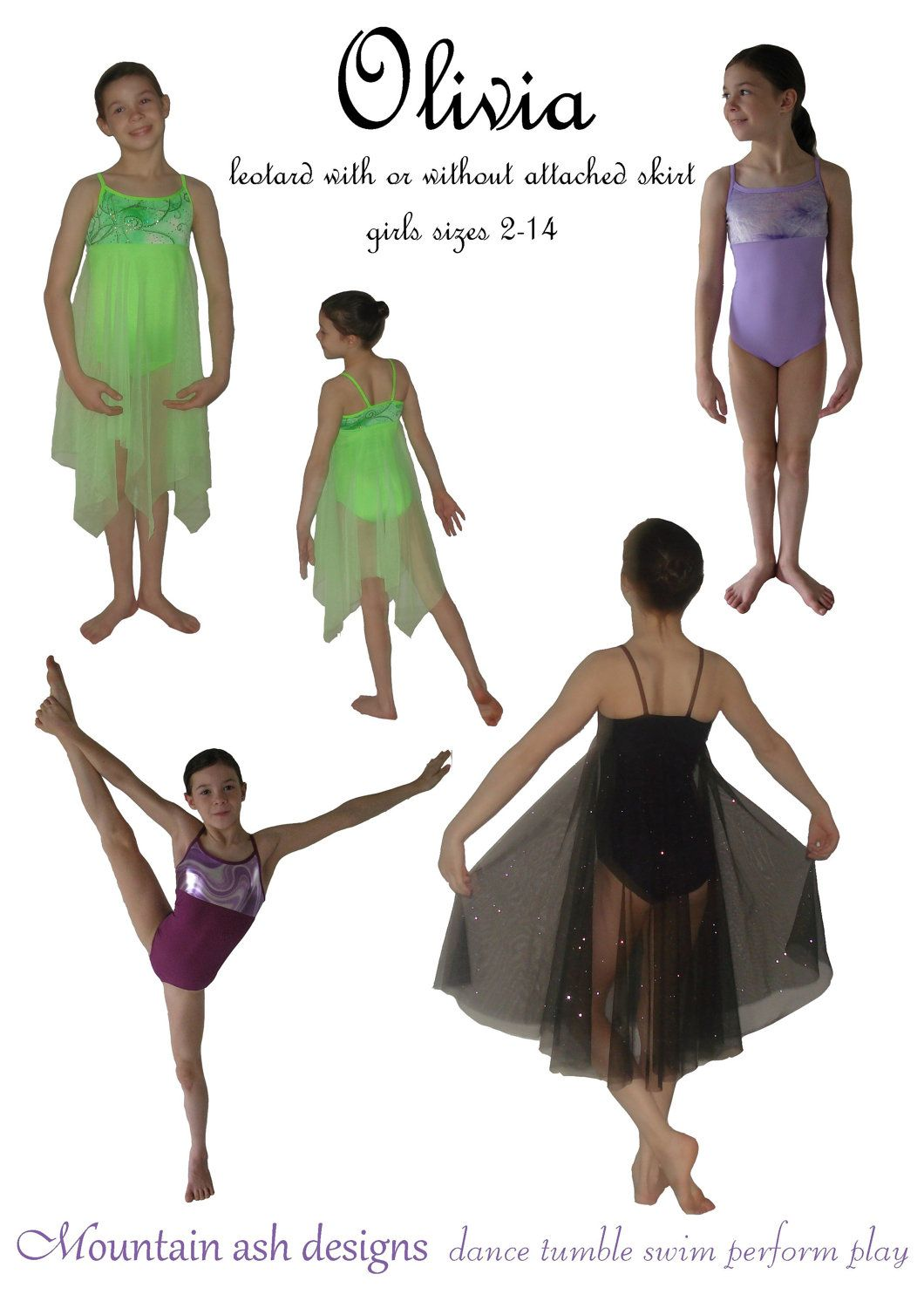 Olivia pdf sewing pattern gymnastics ballet dance leotard dress ...