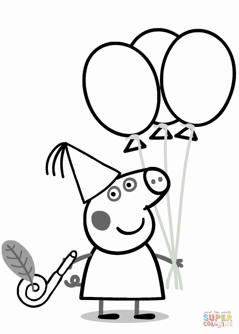 Peppa Pig Coloring Book Awesome Peppa Pig With Ballons Coloring Page Peppa Pig Coloring Pages Birthday Coloring Pages Peppa Pig Colouring
